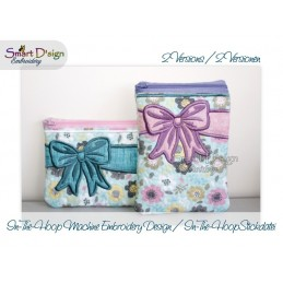 ITH 2x CELEBRATION BOW Cosmetic Zipper Bag 5x7 inch