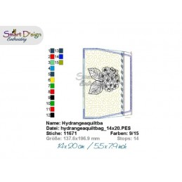 ITH 5.5x7.9 inch Quilt Zipper Bag Hydrangea Applique In the Hoop