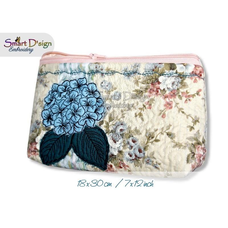 ITH 7x12 inch Quilt Zipper Bag Hydrangea Applique In the Hoop