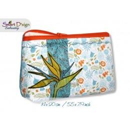 ITH 14x20 Reißverschluss Quilttasche mit Fransenapplikation Strelizie Bird of Paradise In The Hoop