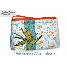 ITH 7x12 inch Quilt Zipper Bag Strelizia Bird of Paradise Applique In the Hoop
