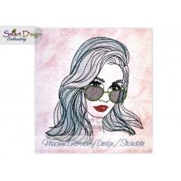 Stadtmädchen Frau mit Sonnenbrille City Girl 13x18 cm Stickdatei