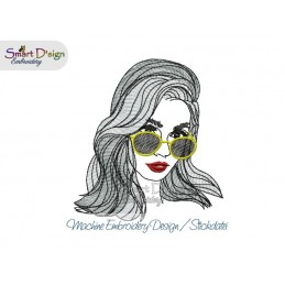 City Girl Woman with Sunglasses 5x7 inch Machine Embroidery Design