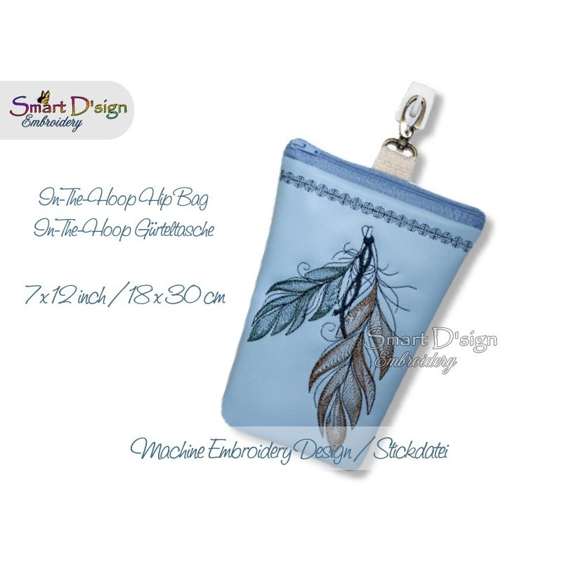 ITH Hip Bag FEATHER with Zipper and Lining Machine Embroidery Design
