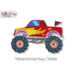 Monster Truck FIRE Machine Embroidery Design