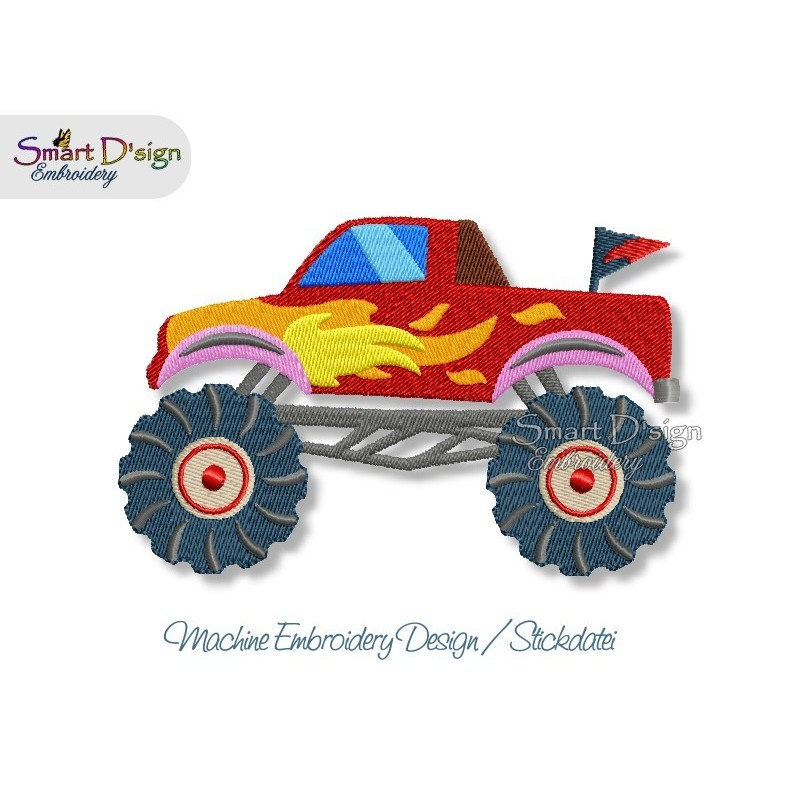Monster Trucks Filled Stitch 3 Sizes Machine Embroidery Design Smart Dsign