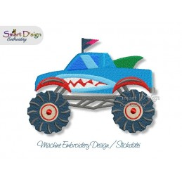 Monster Truck SHARK Machine Embroidery Design
