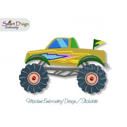 Monster Truck THUNDER Machine Embroidery Design