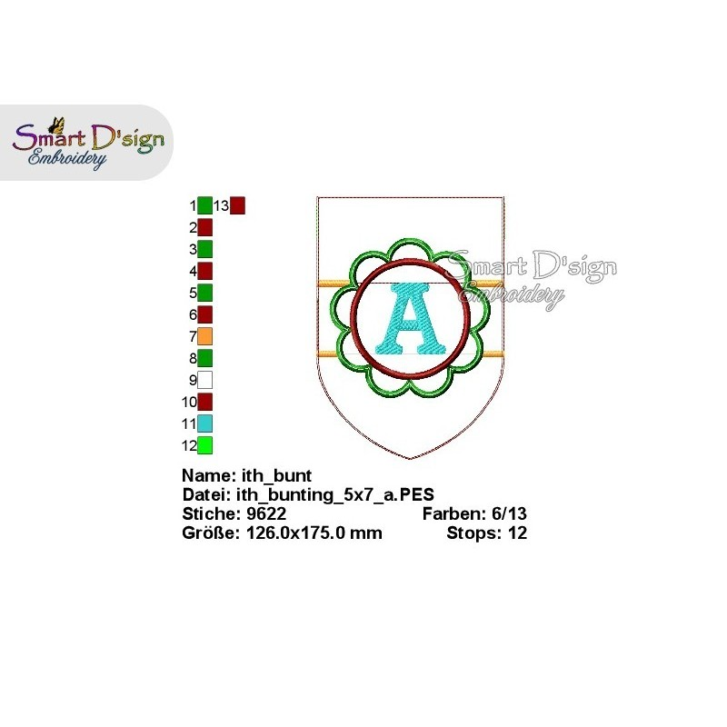 ITH BLUME Wimpelkette 13x18 cm Alphabet & Nummern Stickdatei