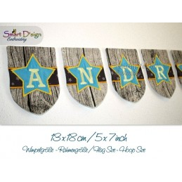 ITH STAR Flag Bunting 5x7 inch Alphabet & Numbers Machine Embroidery Design