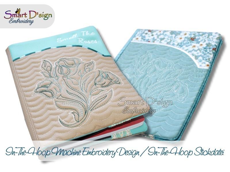ITH Book Case ROSE A5 A6 E-book Machine Embroidery Design Smart Dsign