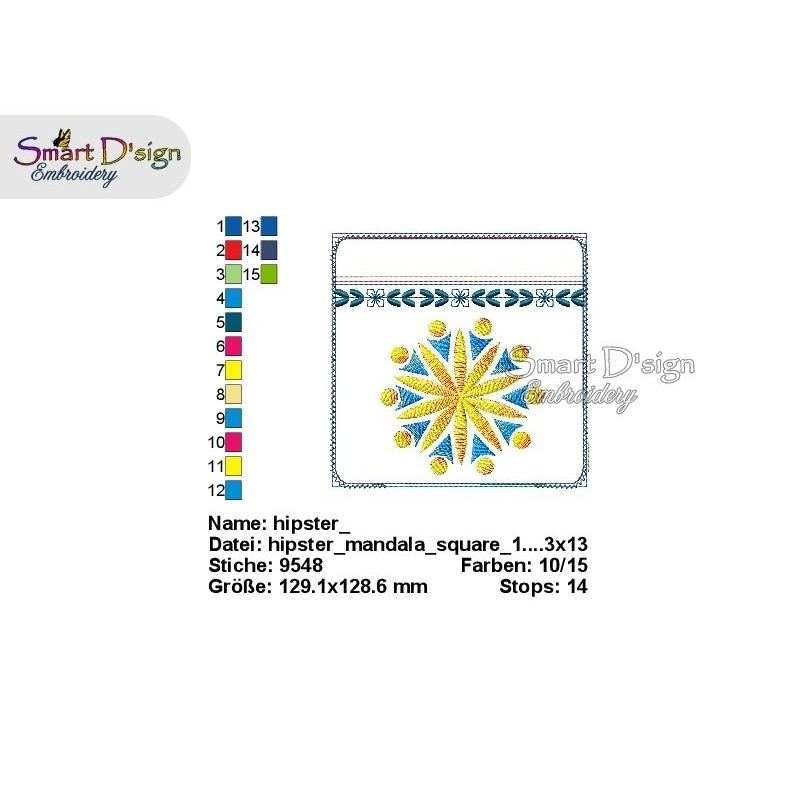 ITH Hip Bag MANDALA Square Machine Embroidery Design