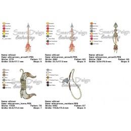 Bohemian Boho Arrows & Horns Doodle 5x7 inch Machine Embroidery Design