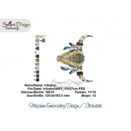 TRIBAL SKULL 01 Boho Bohemian Doodle Motiv Stickdatei