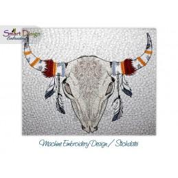 TRIBAL SKULL 01 Boho Bohemian Doodle Motif Machine Embroidery Design