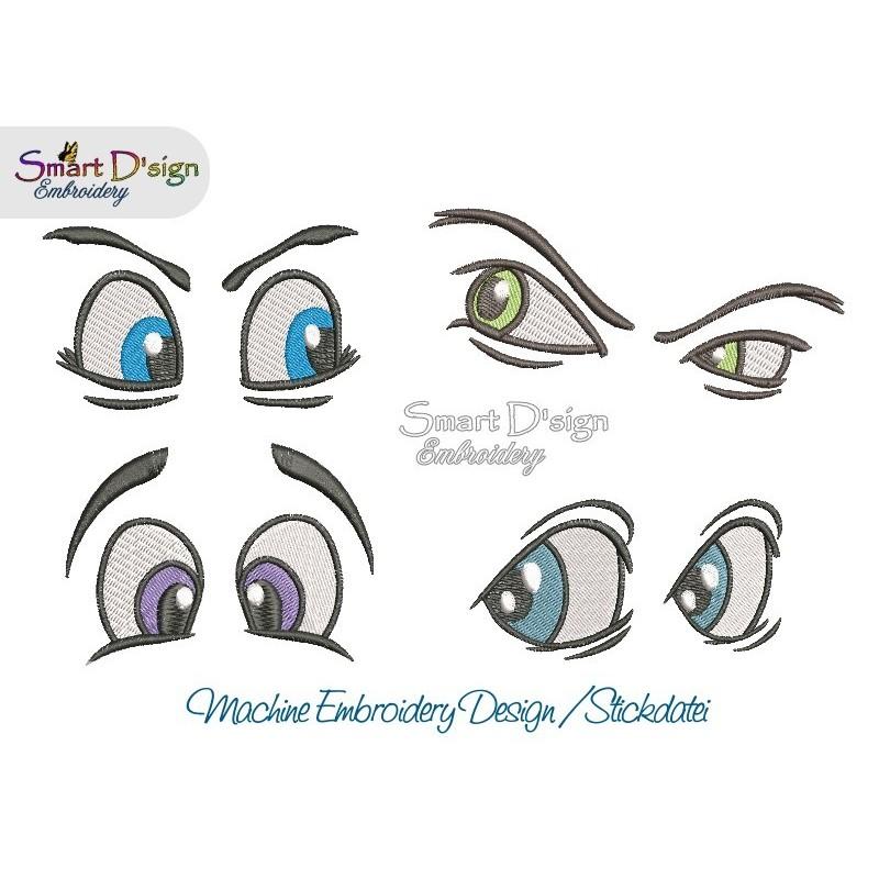 4x Pairs Comic Eyes 4x4 inch hoop Machine Embroidery Design