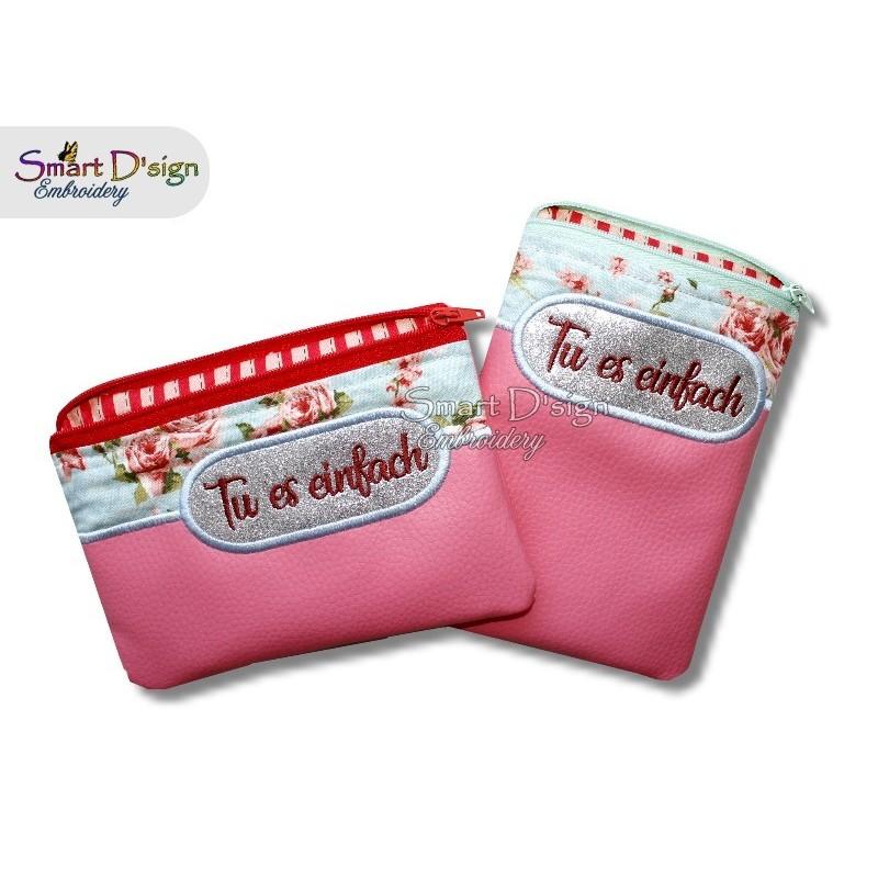 2x ITH Silhouette Bag TU ES EINFACH or BLANK 5x7 inch Machine Embroidery Design