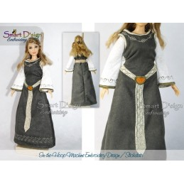 ITH Medieval Dress for Barbie Doll 7x12 inch hoop Machine Embroidery Design