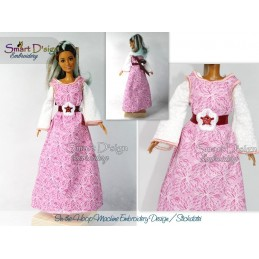 ITH A-Line Flower Dress for Barbie Doll 7x12 inch hoop Machine Embroidery Design