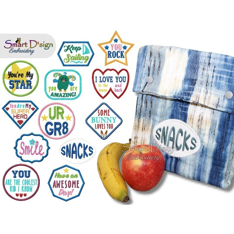 Lunch Bag Note Applique Patches 4x4 inch Machine Embroidery Design