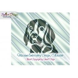 Beagle Dog Silhouette Machine Embroidery Design 2 Sizes
