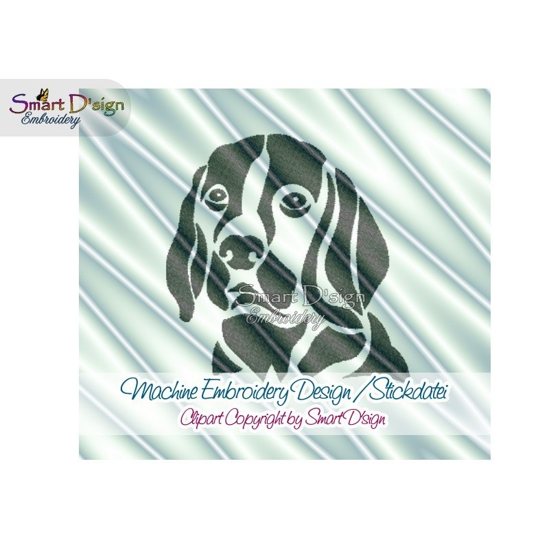 Beagle Dog Silhouette Machine Embroidery Design 2 Sizes
