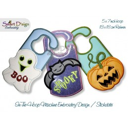 ITH Door Hanger Halloween 5x7 inch Machine Embroidery Design