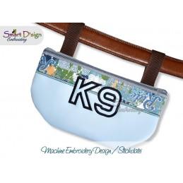 K9 Silhouette Reissverschluss Tasche Stickdatei