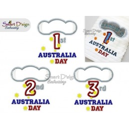 1st 2nd 3rd AUSTRALIA DAY KOALA 3x Appliques Machine Embroidery Design