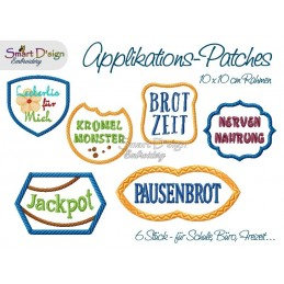 GERMAN School Office Fun Patches 4x4 inch Applique Machine Embroidery Design