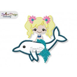 Mermaid with Dolphin Applique 4.75x4.75 inch Machine Embroidery Design