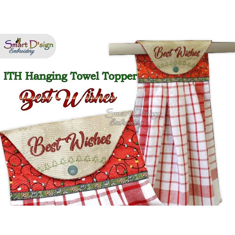BEST WISHES - Christmas 1x ITH Hanging Towel Topper 3 sizes available Machine Embroidery Design