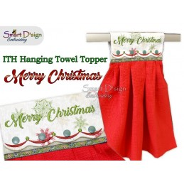 MERRY CHRISTMAS - Christmas 1x ITH Hanging Towel Topper 3 sizes available Machine Embroidery Design