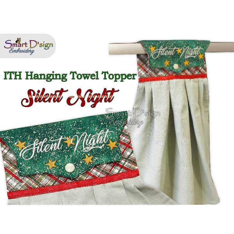 SILENT NIGHT - Christmas 1x ITH Hanging Towel Topper 3 sizes available Machine Embroidery Design