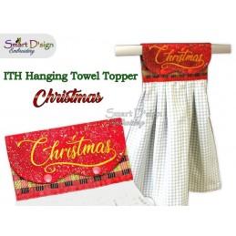CHRISTMAS - 1x Weihnachts ITH Hängeschlaufe für Geschirrtücher, 3 Größen verfügbar Stickdatei