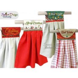 Set mit 4 Weihnachts ITH Hängeschlaufen für Geschirrtücher, 3 Größen verfügbar Stickdatei