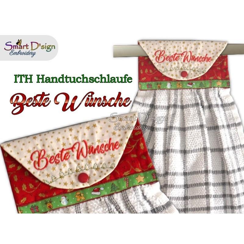 BESTE WÜNSCHE - Christmas 1x ITH Hanging Towel Topper 4 sizes available Machine Embroidery Design