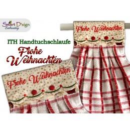 FROHE WEIHNACHTEN - 1x Weihnachts ITH Hängeschlaufe für Geschirrtücher, 4 Größen verfügbar Stickdatei