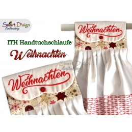Set GERMAN 4 Christmas ITH Hanging Towel Topper 4 sizes available Machine Embroidery Design