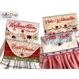 Set mit 4 Weihnachts ITH Hängeschlaufen für Geschirrtücher, 4 Größen verfügbar Stickdatei