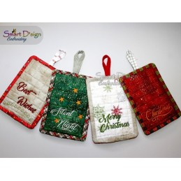 Weihnachtliche ITH Patchwork Topflappen 13x18 cm Stickdatei