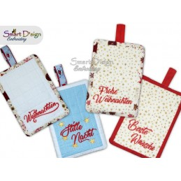 ITH Weihnachts-Motive Patchwork Potholder 13x18 cm Machine Embroidery Design