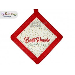 BESTE WÜNSCHE - Christmas 1x ITH Patchwork Potholder 3 sizes available Machine Embroidery Design