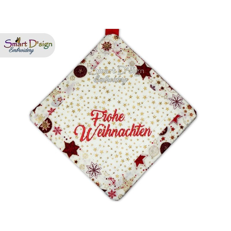 FROHE WEIHNACHTEN - Christmas 1x ITH Patchwork Potholder 3 sizes available Machine Embroidery Design