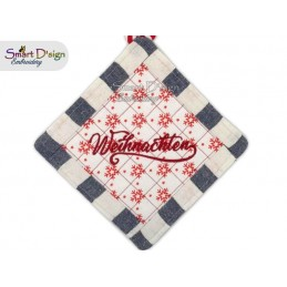 WEIHNACHTEN - Christmas 1x ITH Patchwork Potholder 3 sizes available Machine Embroidery Design