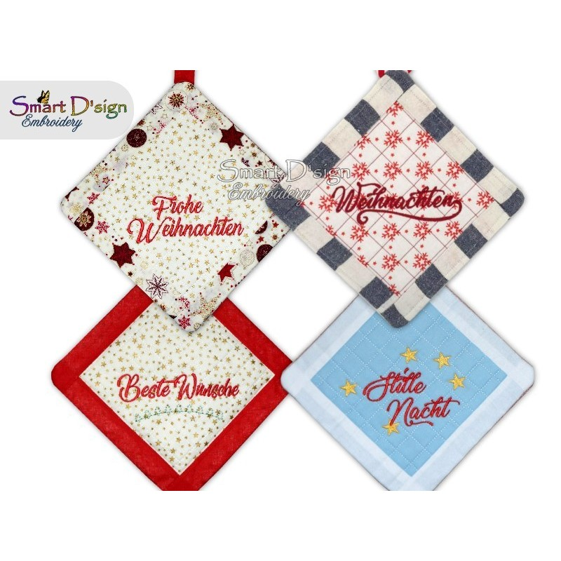 Set 4x GERMAN ITH CHRISTMAS Patchwork Potholder 3 sizes available Machine Embroidery Design