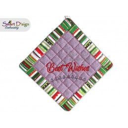 BEST WISHES - Christmas 1x ITH Patchwork Potholder 3 sizes available Machine Embroidery Design