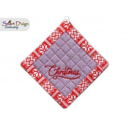 CHRISTMAS - Christmas 1x ITH Patchwork Potholder 3 sizes available Machine Embroidery Design