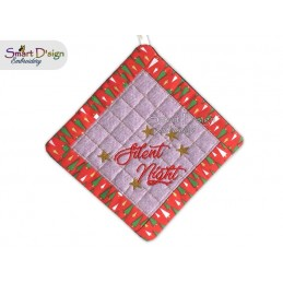 SILENT NIGHT - Christmas 1x ITH Patchwork Potholder 3 sizes available Machine Embroidery Design