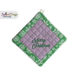MERRY CHRISTMAS - Christmas 1x ITH Patchwork Potholder 3 sizes available Machine Embroidery Design